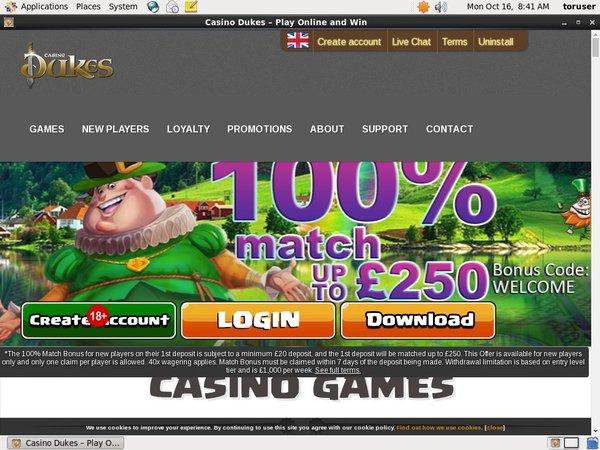 Live Casinodukes Bonus