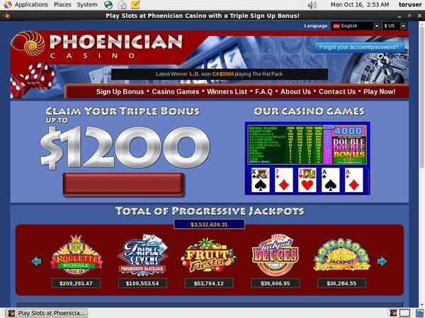 Phoenician Casino 환영 보너스