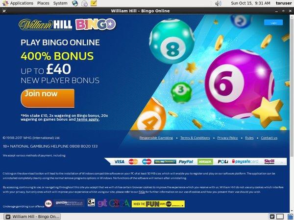 William Hill Bingo Bonus Offer
