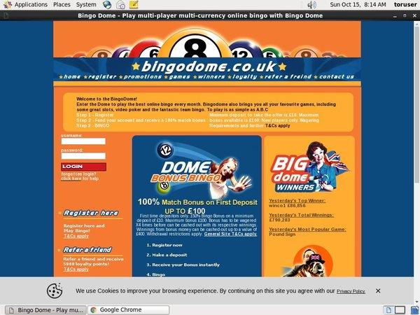Bingo Dome 赌场奖金