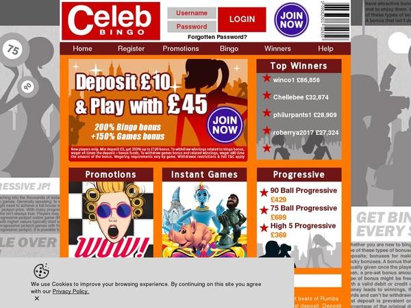 Celebbingo Casino Bonus